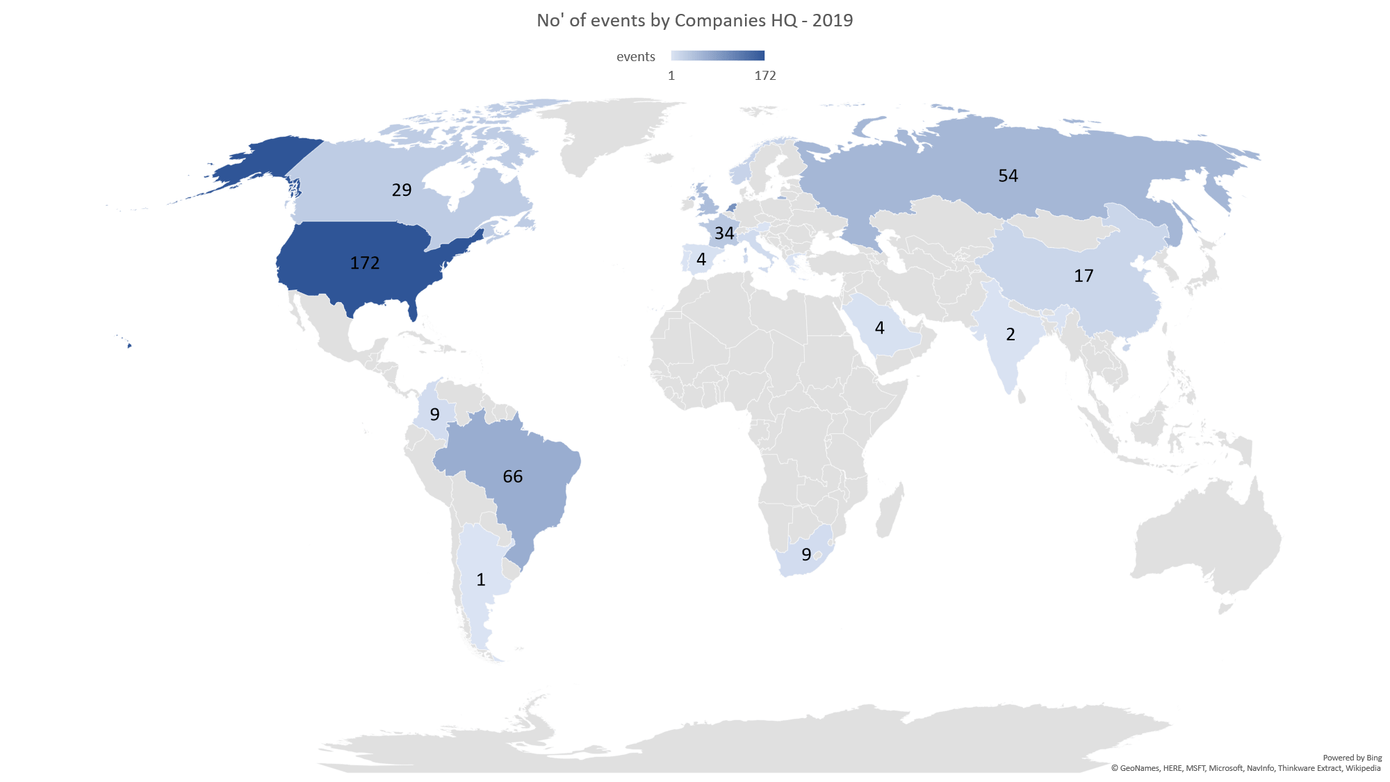 no' of event by companies HQ - 2019
